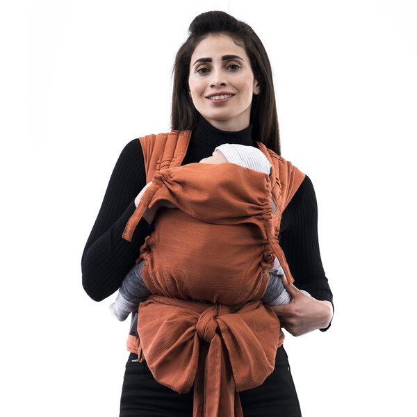 Fidella® FlyClick - Halfbuckle Baby Carrier - Cubic Lines - rustred - Baby