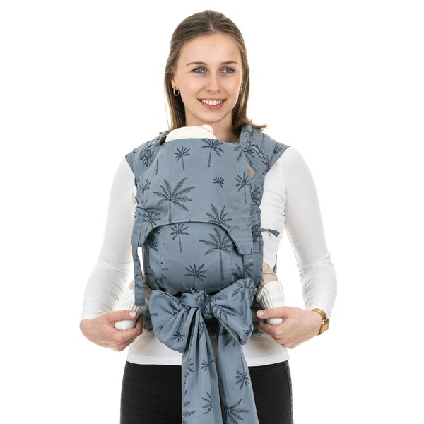 Fidella® Fly Tai - Mei Tai Baby Carrier - Palm Trees - dove blue - Baby