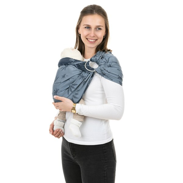 Fidella® Ring Sling - Palm Trees - dove blue