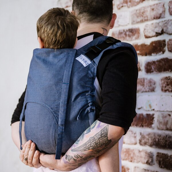 Fidella® Onbuhimo V2 - Back Carrier - Chevron - denim blue - Toddler