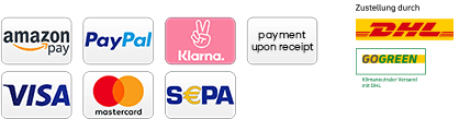 Payments - Amazon Pay - PayPal - Klarna - Payment upon recipt - Visa - Mastercard - Sepa - Delivery: Delivery by DHL gogreen